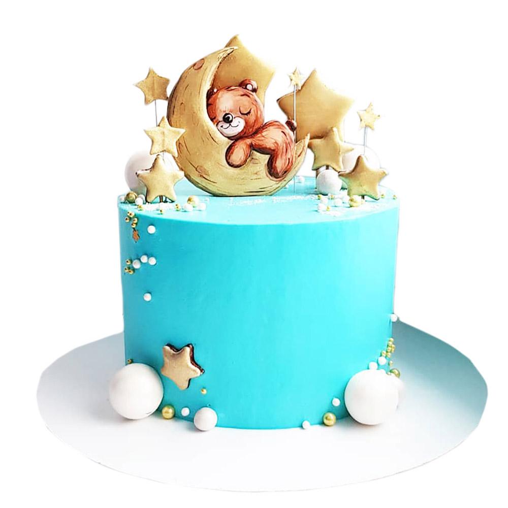decija torta za decake medo spava na mesecu 3
