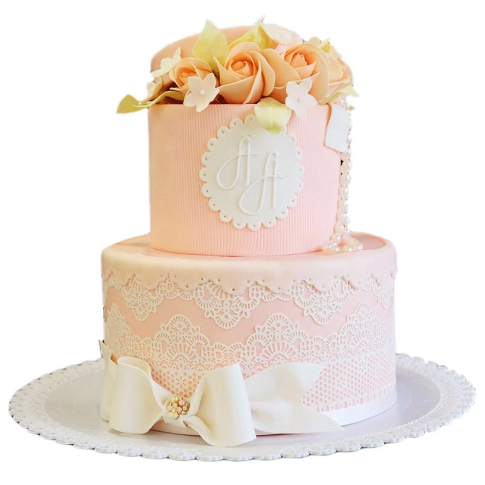 rozikasta svadbena torta sa masnom od fondana i cipkom 3